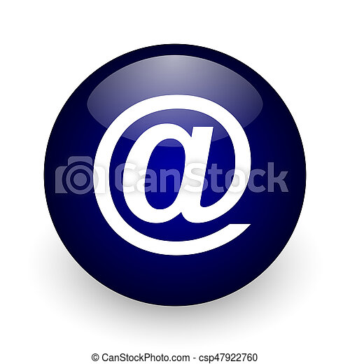 Email blue glossy ball web icon on white background. Round 3d render button. - csp47922760