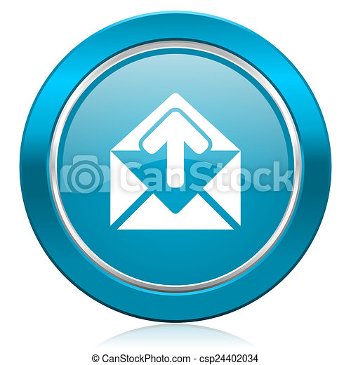 email blue icon post message sign - csp24402034