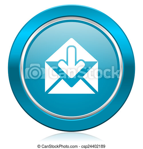 email blue icon post message sign - csp24402189