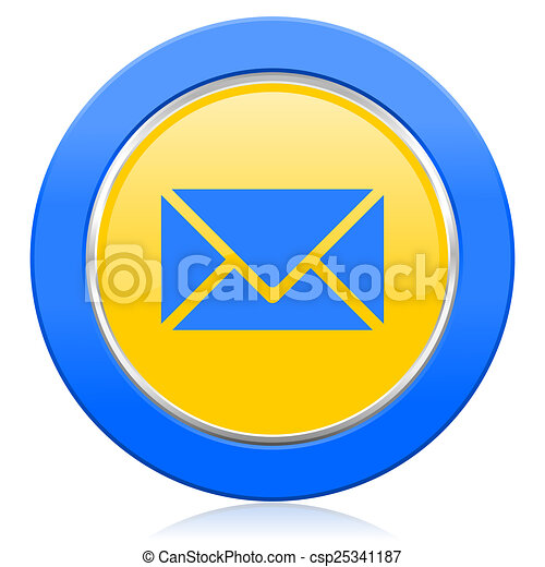 email blue yellow icon post sign - csp25341187