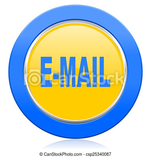 email blue yellow icon - csp25340087