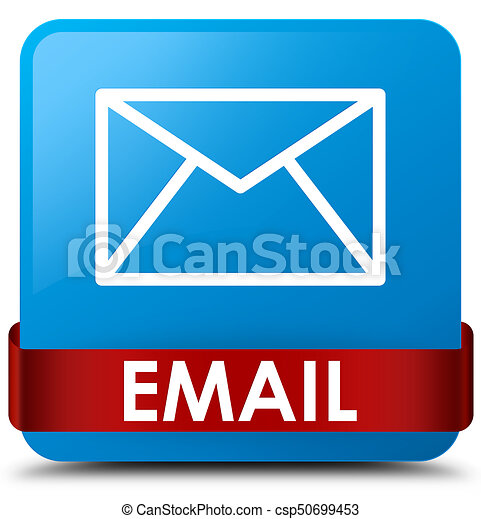 Email cyan blue square button red ribbon in middle - csp50699453