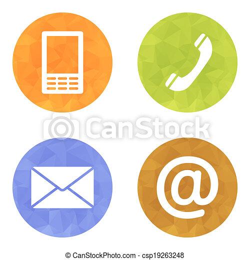 email, ensemble, icônes, mobile, enveloppe, -, boutons, contact, téléphone - csp19263248