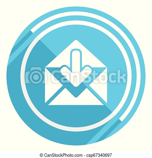 Email flat design blue web icon, easy to edit vector illustration for webdesign and mobile applications - csp67340697