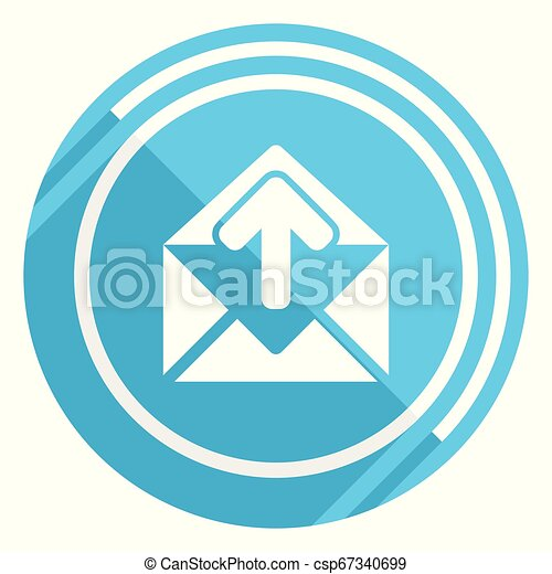 Email flat design blue web icon, easy to edit vector illustration for webdesign and mobile applications - csp67340699