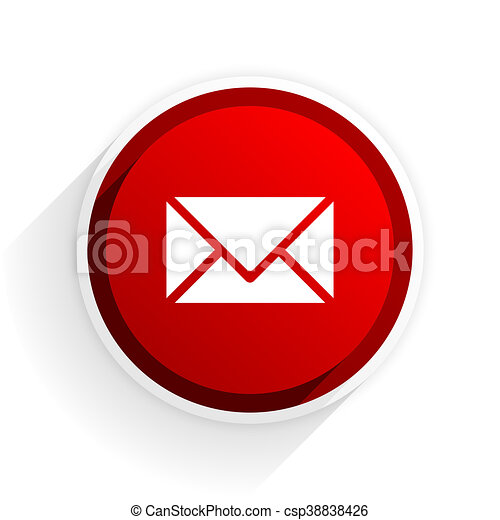 email flat icon with shadow on white background, red modern design web element - csp38838426