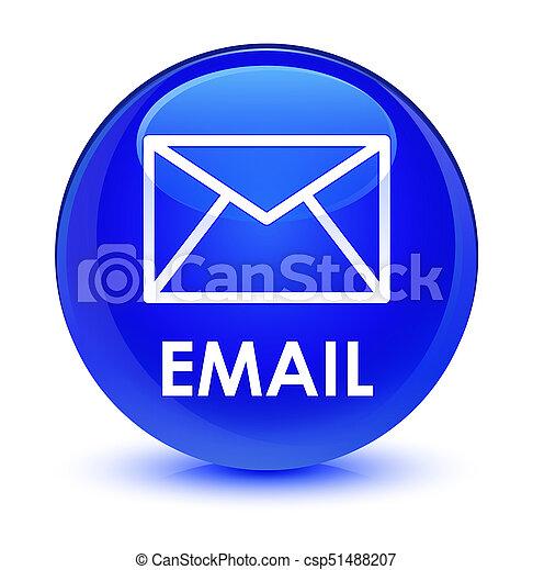 Email glassy blue round button - csp51488207