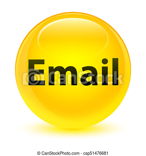Email glassy yellow round button - csp51476681
