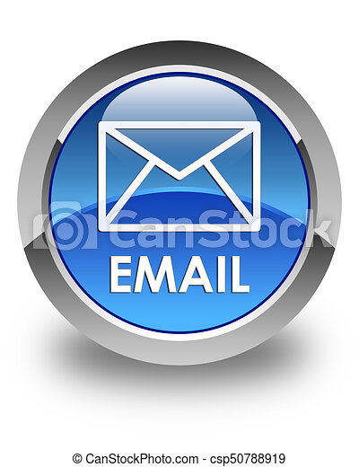 Email glossy blue round button - csp50788919