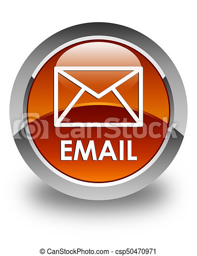 Email glossy brown round button - csp50470971