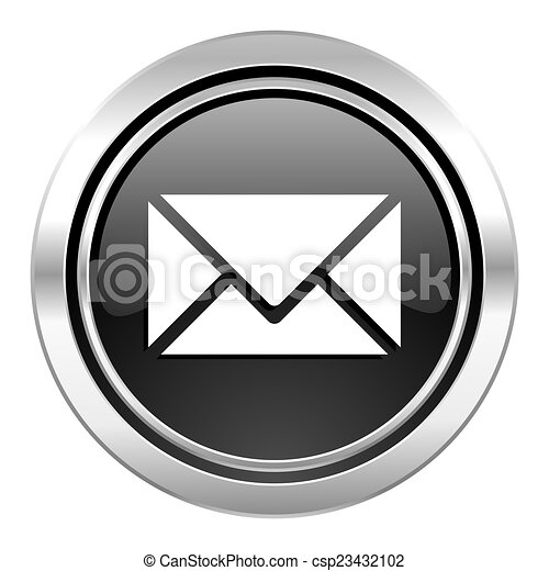 email icon, black chrome button, post sign - csp23432102
