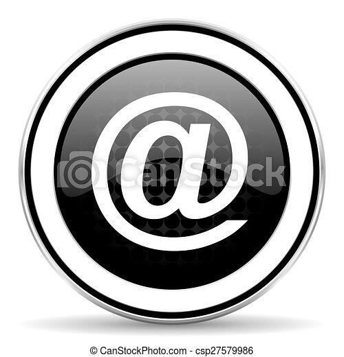 email icon, black chrome button - csp27579986