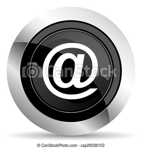 email icon, black chrome button - csp29336153