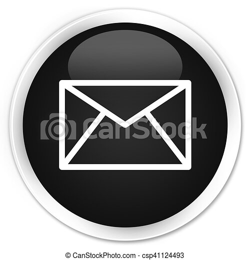 Email icon black glossy round button - csp41124493