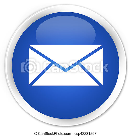 Email icon blue glossy round button - csp42231297