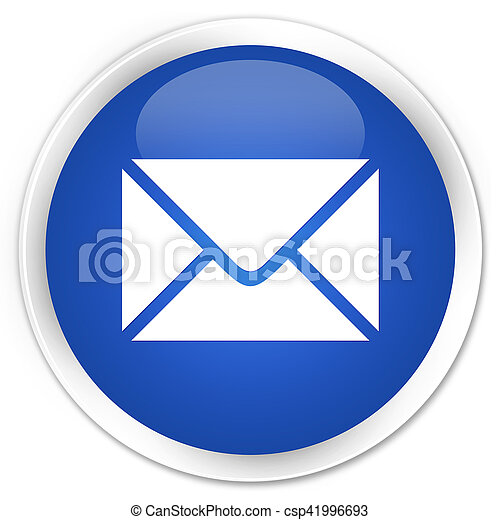 Email icon blue glossy round button - csp41996693