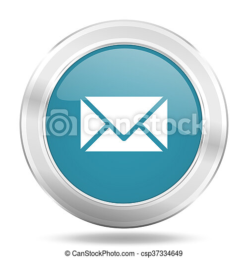 email icon, blue round glossy metallic button, web and mobile app design illustration - csp37334649
