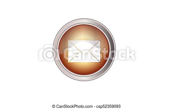 Email icon button round color yellow quartz - csp52359093