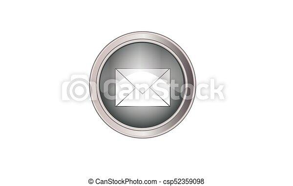 Email icon button round gray - csp52359098
