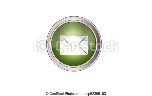 email icon button round green - csp52359103