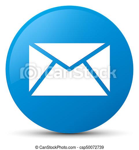Email icon cyan blue round button - csp50072739