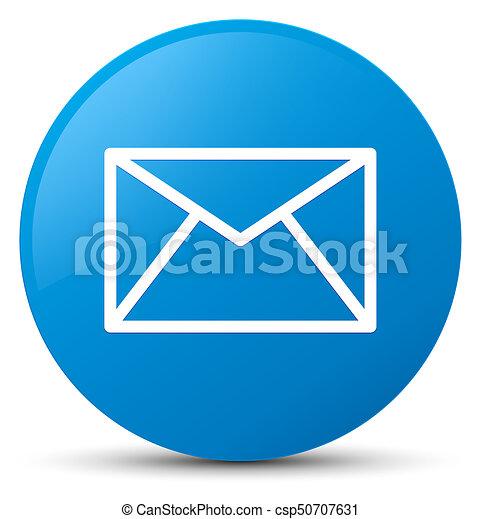 Email icon cyan blue round button - csp50707631