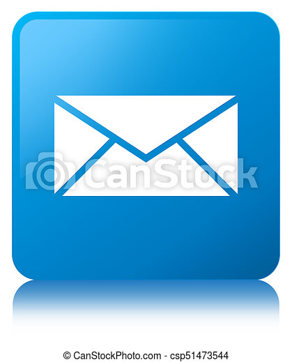 Email icon cyan blue square button - csp51473544