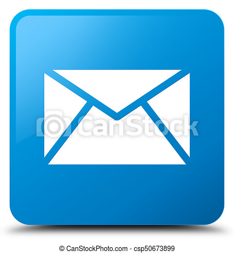 Email icon cyan blue square button - csp50673899