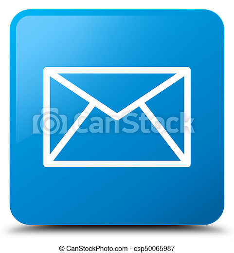 Email icon cyan blue square button - csp50065987