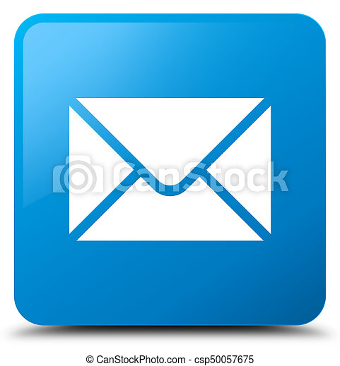 Email icon cyan blue square button - csp50057675