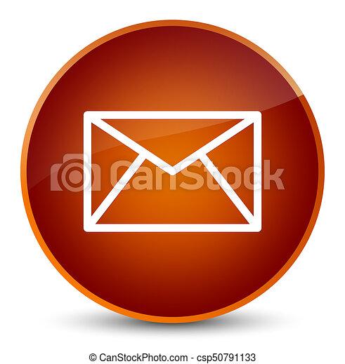 Email icon elegant brown round button - csp50791133