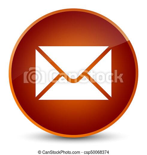 Email icon elegant brown round button - csp50068374