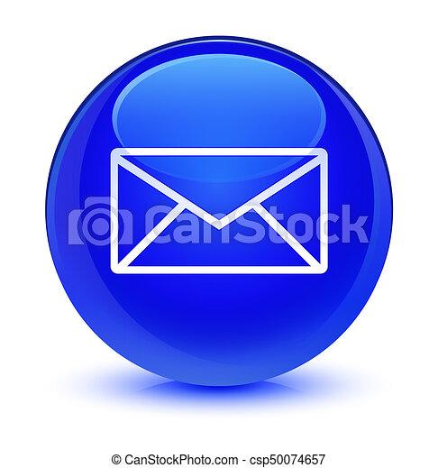 Email icon glassy blue round button - csp50074657