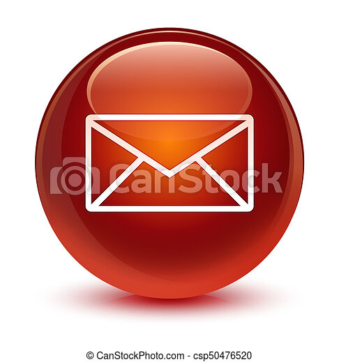 Email icon glassy brown round button - csp50476520