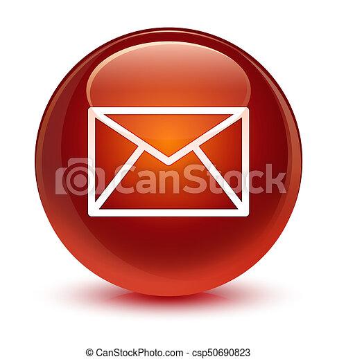 Email icon glassy brown round button - csp50690823