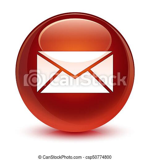 Email icon glassy brown round button - csp50774800