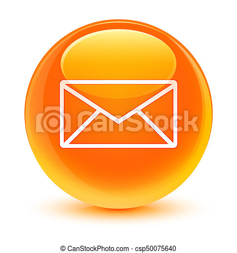 Email icon glassy orange round button - csp50075640