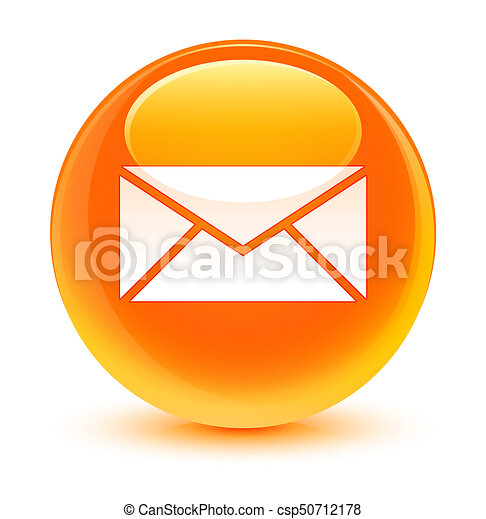 Email icon glassy orange round button - csp50712178