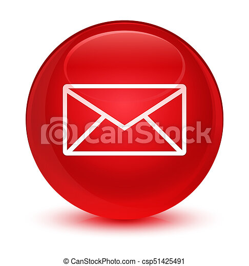 Email icon glassy red round button - csp51425491