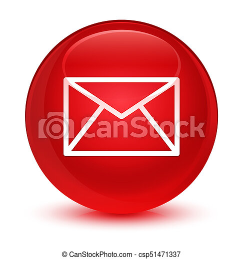 Email icon glassy red round button - csp51471337
