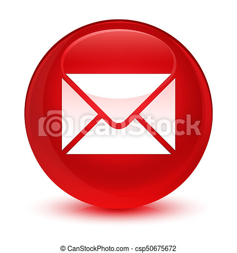 Email icon glassy red round button - csp50675672