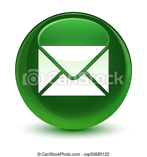 Email icon glassy soft green round button - csp50680122