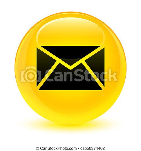 Email icon glassy yellow round button - csp50374462