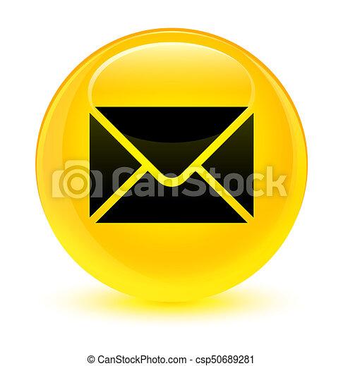 Email icon glassy yellow round button - csp50689281