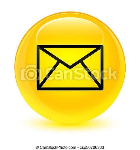 Email icon glassy yellow round button - csp50786383