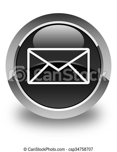 Email icon glossy black round button - csp34758707