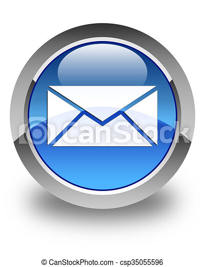 Email icon glossy blue round button 2 - csp35055596