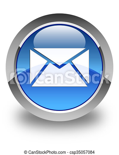 Email icon glossy blue round button 3 - csp35057084