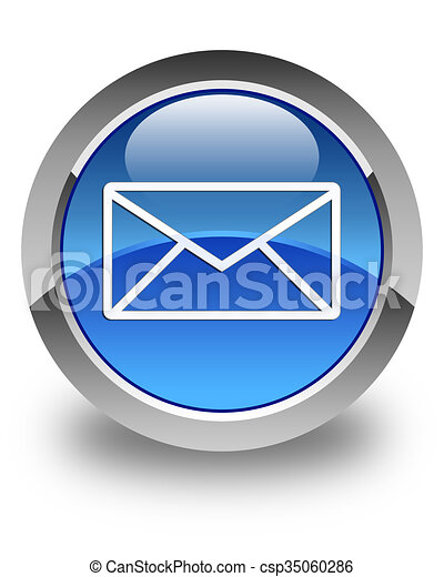 Email icon glossy blue round button 5 - csp35060286