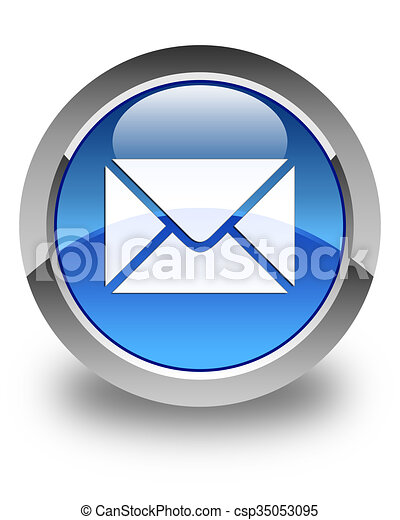 Email icon glossy blue round button - csp35053095